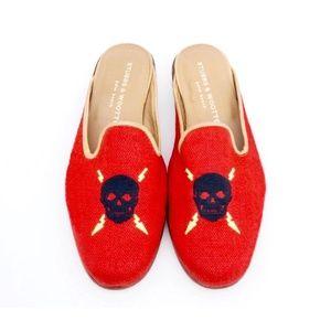 Stubbs & Wootton Red w Skull Mules / Flats, Sz 9